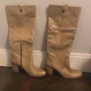Vince Camuto Beige Leather Tall Boots- Sz9